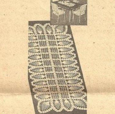 Crochet Table Doily Pattern Pineapple Scarf, Dresser, Table Runner Mat Pdf