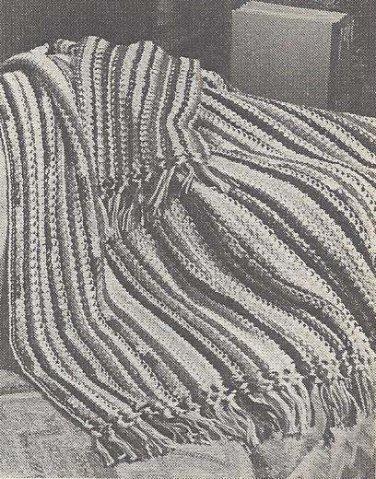 Scrap Afghan Vintage Crochet Blanket, Recession Pattern, Crochet 70s