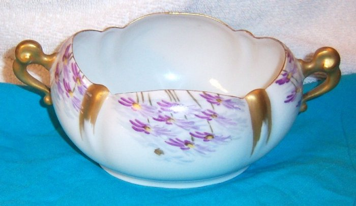 antique Victorian fine handpainted porcelain open double handle bowl