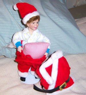 Norman Rockwell Scotty Plays Santa porcelain doll