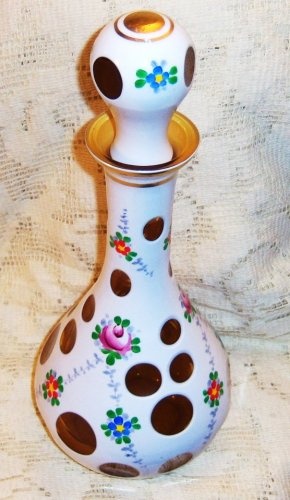 bohemia  case cut glass decanter,Amber-white-Antique