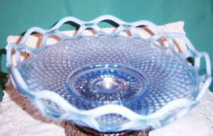 Fenton Super Fenton open lace Opaline pale blue to whites in this 8 1/2 inch..