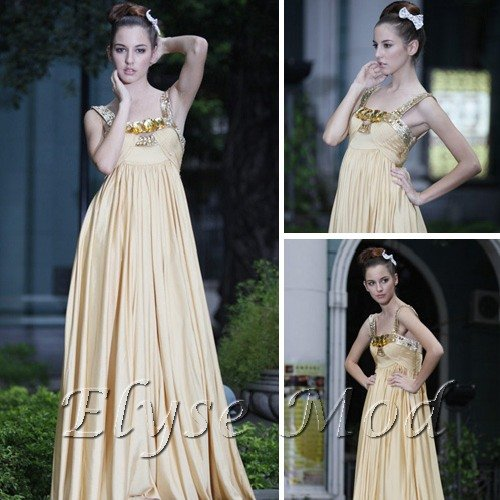 ELYSEMOD  Empire Spaghetti Straps Sweep/Brush  Pearl Satin Quick Delivery/ Wedding Party Dress