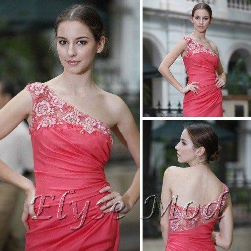 ELYSEMOD Trumpet/ Mermaid One Shoulder Floor Length Satin Quick Delivery Fashion Dress/Evening Dress