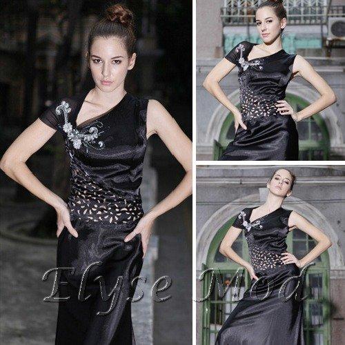 ELYSEMOD Sheath / Column Bateau Floor Length Satin Quick Delivery Fashion Dresses/Evening Dresses