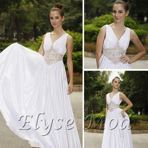 ELYSEMOD A-line V-neck Floor-length Chiffon Dresses on Sale / Evening Dresses