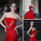 ELYSEMOD A-line Bateau Floor-length Ruffles/Beads Satin Quick Delivery/ Evening/ Prom Dress