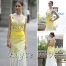 ELYSEMOD A-line V-neck Floor-Length Hand Flower Silk Stain Quick Delivery Evening/ Fromal Dress