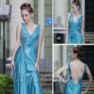 ELYSEMOD A-line V-neck Floor Length Twill Rhinestone Quick Delivery Evening/ Gown Dresses