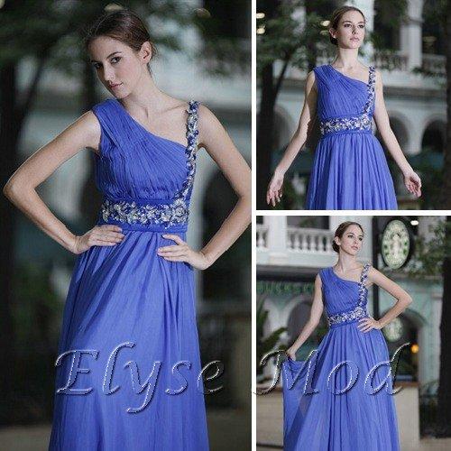 ELYSEMOD Sheath/Column One Shoulder Floor Length Tencel/Chiffon Quick Delivery Evening/ Prom Dress
