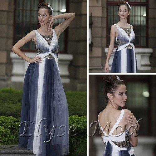 ELYSEMOD A-line Scoop Floor Length Chiffon Rhinestone Quick Delivery Evening/Prom