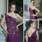 ELYSEMOD Sheath/Column One Shoulder Embroidery Silk Quick Delivery Evening/ Prom Dress