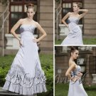 ELYSEMOD A-line Strapless Floor Length Stain Ruffles Quick Delivery Fromal/ Wedding Dresses