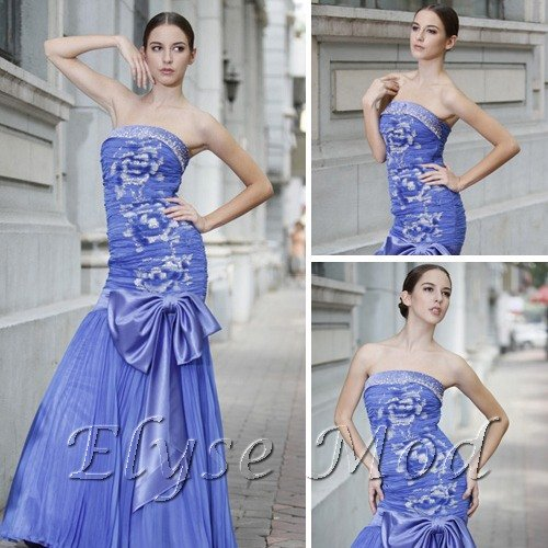 ELYSEMOD Trumpet/Mermad Strapless Floor Length Print Flower Quick Delivery Prom Dresses