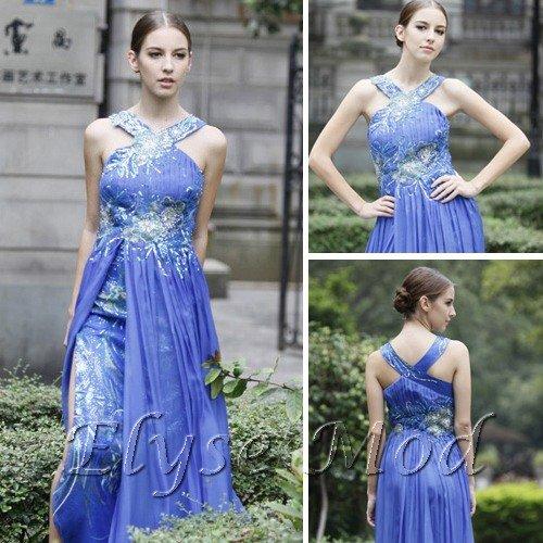 ELYSEMOD Sheath/Column Halter Floor Length Chiffon Print Flower Quick Delivery Gown Dresses