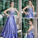 ELYSEMOD  A-line V-neck Floor Length Elastic Silk-like Satin Quick Delivery Formal Dresses