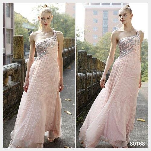 Elysemod Sheath Sweep Train Silk Chiffon Beading One-Shoulder Wedding Dresses 80168