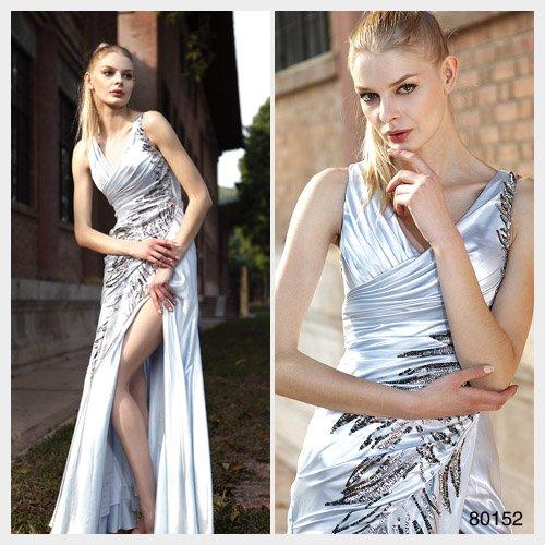 Trumpet / Mermaid V-neck Ankle-length Sleeveless Elastic satin Evening Dress by Elysemod 80152