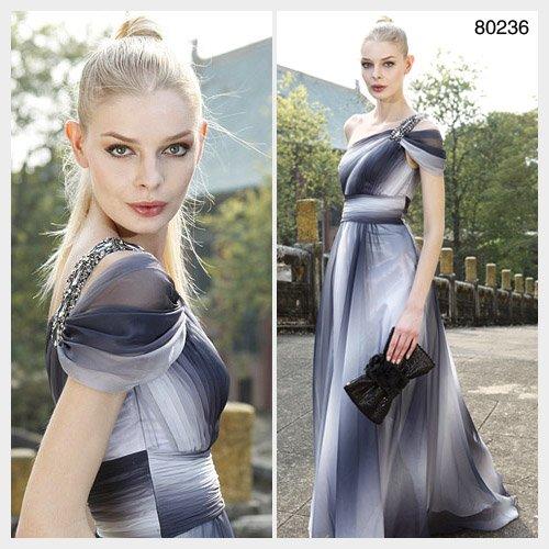 Elysemod A-line One Shoulder Floor-length Capped Short Tencel Chiffon Evening Dress 80236