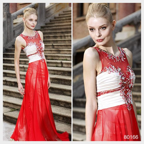 Elysemod A-line Scoop Floor-length Sleeveless Chiffon Quick Delivery/ Evening Dress 80166