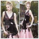 Elysemod Trumpet / Mermaid V-neck Floor-length Sleeveless Organza Lace Evening Dress 80208
