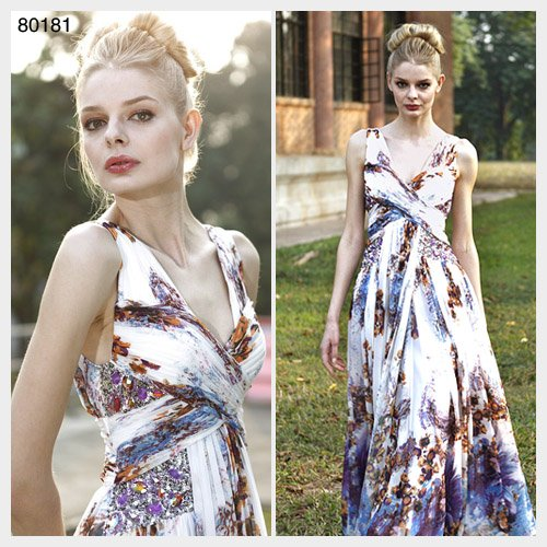 Elysemod A-line V-neck Floor-length Sleeveless Chiffon Evening Dresses/Dress 80181