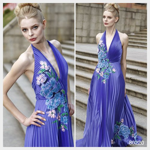 Elysemod A-line Halter Floor-length Sleeveless Elastic satin Evening Dress 80220