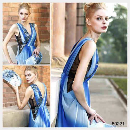 Elysemod A-line V-neck Ankle-length Sleeveless Chiffon Evening Dress Women's Dresses 80221