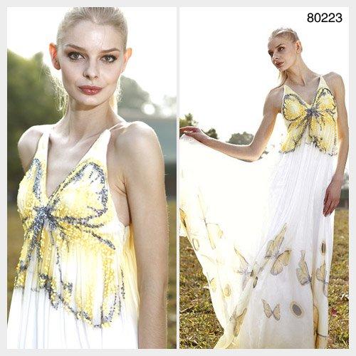 Elysemod A-line V-neck Floor-length Sleeveless Tencel Chiffon Evening Dresses/Dress 80223