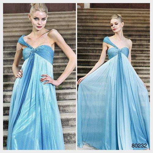 Elysemod A-line One Shoulder Floor-length Sleeveless Chiffon Women's Dresses Evening Dress 80232