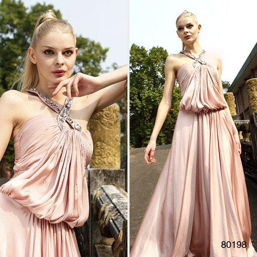 Elysemod A-line Halter Floor-length Sleeveless Elastic satin Women's Clothing / Evening Dress 80198