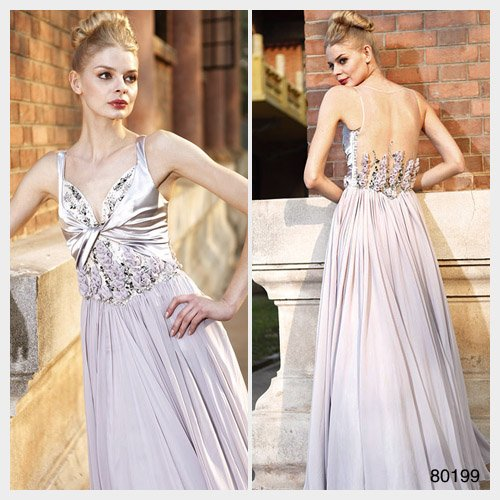 Elysemod A-line V-neck Ankle-length Sleeveless Chiffon Elastic satin/ Evening Dress 80199