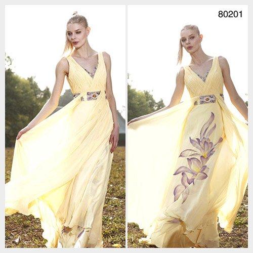 Elysemod A-line V-neck Floor-length Sleeveless Women's Clothing Chiffon / Evening Dress 80201