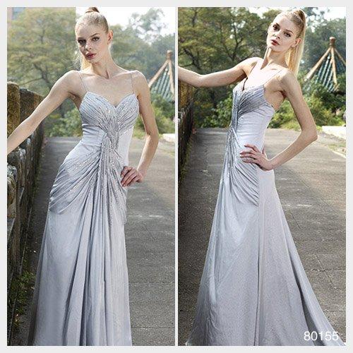 Elysemod A-line Spaghetti Straps Sweep / Brush Train Sleeveless Elastic satin Evening Dresses 80155
