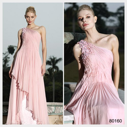 Elysemod A-line One Shoulder Floor-length Sleeveless Chiffon Women's Dresses/ Evening Dress 80160
