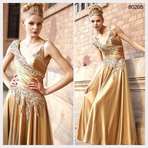 Elysemod A-line V-neck Floor-length Sleeveless Elastic satin Women's Dresses/ Evening Dress80 205