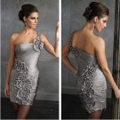 Free Shipping Best Selling Custom-made One Shoulder Sheath Satin Cocktail dress