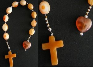 CATHOLIC OPEN CHAPLET BULL'S EYE ORANGE AGATE