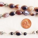 GREEK KOMBOLOI STERLING & BOTSWANA AGATE WORRY BEADS