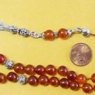 GREEK KOMBOLOI ORANGE LIGHT CARNELIAN AND STERLING