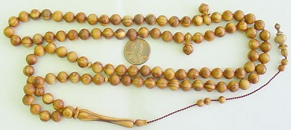 ISLAMIC PRAYER BEADS CENTENARY OLIVE 99 BEADS SHALGAMI