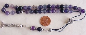GREEK KOMBOLOI STERLING & FLUORITE WORRY BEADS