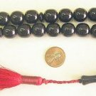 ISLAMIC PRAYER WORRY BEADS ROUND BARREL BLACK FATURAN