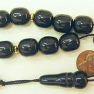 GREEK KOMBOLOI BLACK SANDALOUS BARREL BEADS +VERMEIL