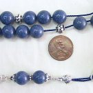 KOMBOLOI WORRY BEADS BLUE SPONGE CORAL & STERLING