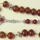 GREEK KOMBOLOI RONDELLE CARNELIAN AND STERLING SILVER