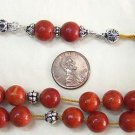 KOMBOLOI WORRY BEADS RED SPONGE CORAL & STERLING