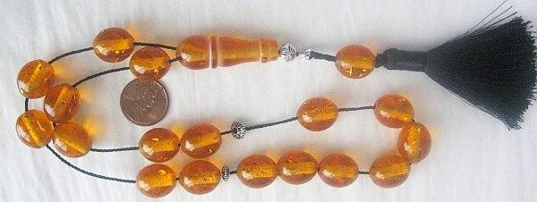 GREEK KOMBOLOI GOLD SPECKLED AMBER OVAL BEADS +STERLING