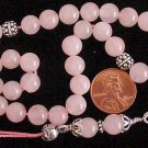 GREEK KOMBOLOI STERLING AND PINK QUARTZ WORRY BEADS