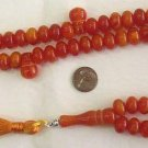 ISLAMIC LARGE PRAYER BEADS 99 ORANGE MARBLED AMBER